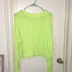 Yellow neon crop top long sleeve shirt.